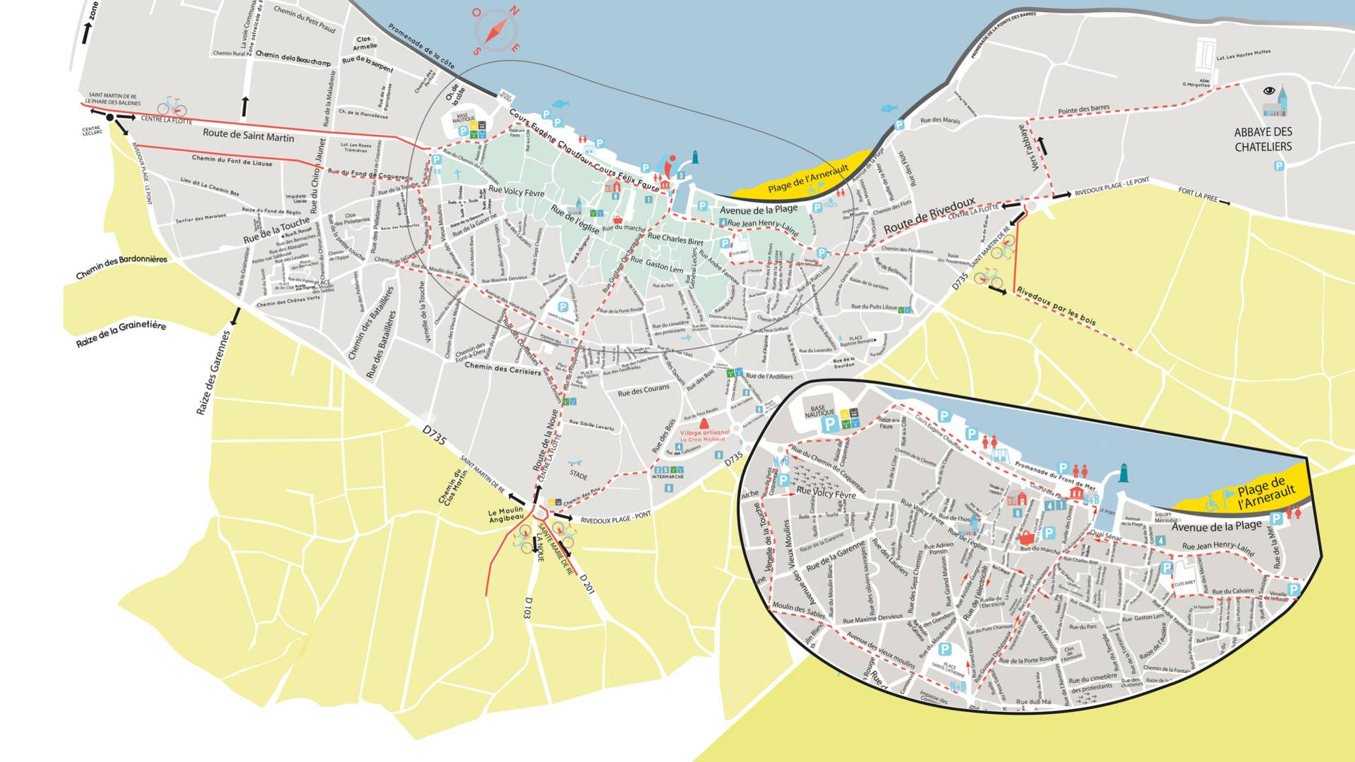 Map Ile de Ré, city of La Flotte